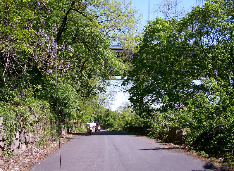 The bridge is visible above the road here.