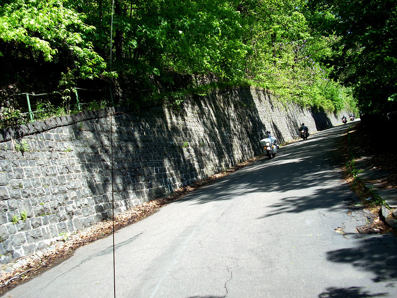 There are a few steep sections of road.