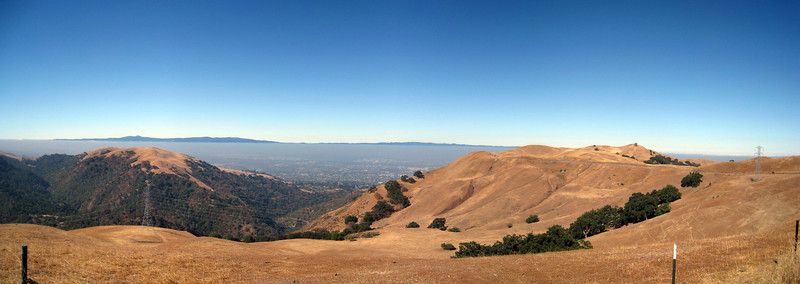 the silicon valley unfolds below in this early morning photo.<br /> <br /> three shot panoramic, stitched w/ autostitch.