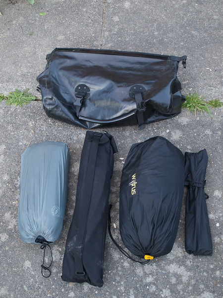 Orlieb medium duffle. Capacity of 40 liters. Carries (left to right) Big Agnes Large Insulated AirCore sleeping pad, Kermit chair (I know--a complete indulgence!), 15-year-old Walrus Arch-Rival tent, and tent poles.