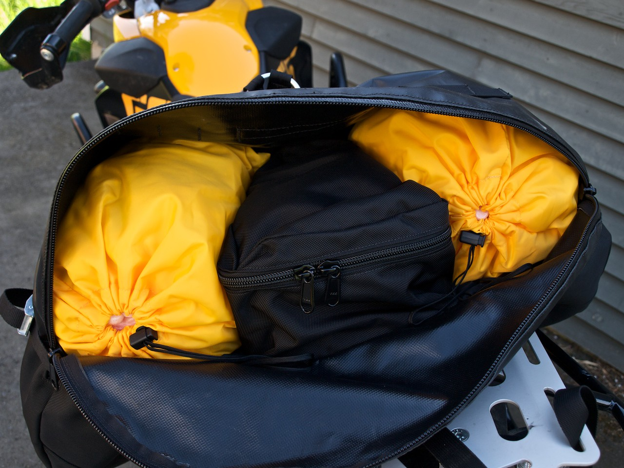 """The interior. Here stuffed with packing peanuts. The center <br /> """"tail bag"""" section could have held more."""