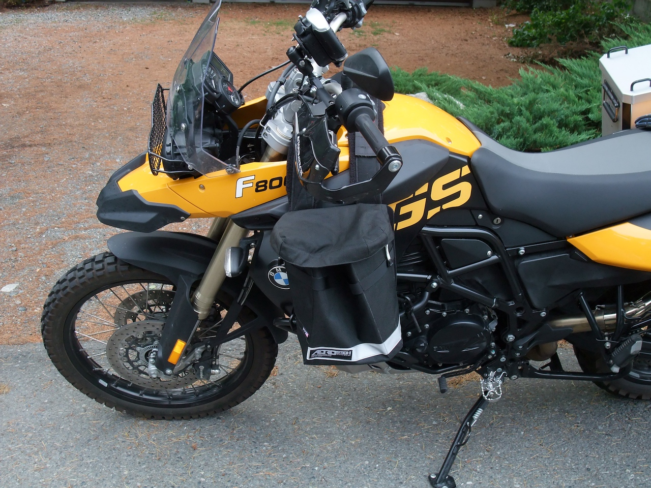 Checking out Aerostich tank panniers. Something smaller, higher, and more forward would be ideal.