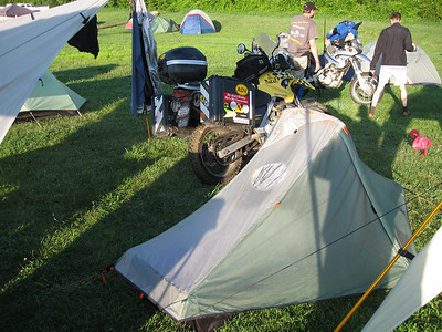 Camp Fauster, wedged between two sun shelters and next to the swamp.
