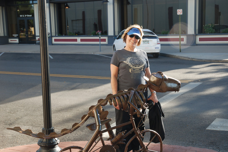 Nancy and the bicycling dinosaur.