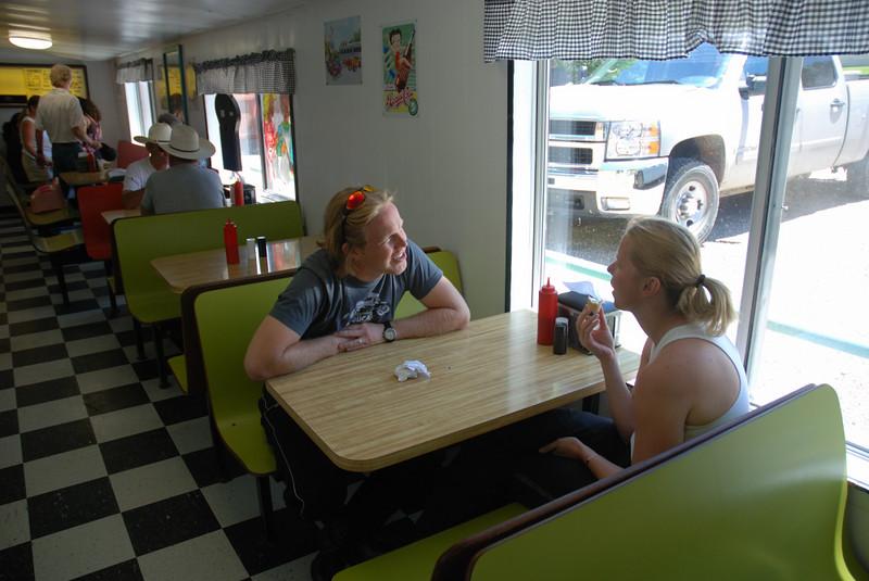 Damon and Kim at Blondie's, for ice cream. Naturita, Colorado.