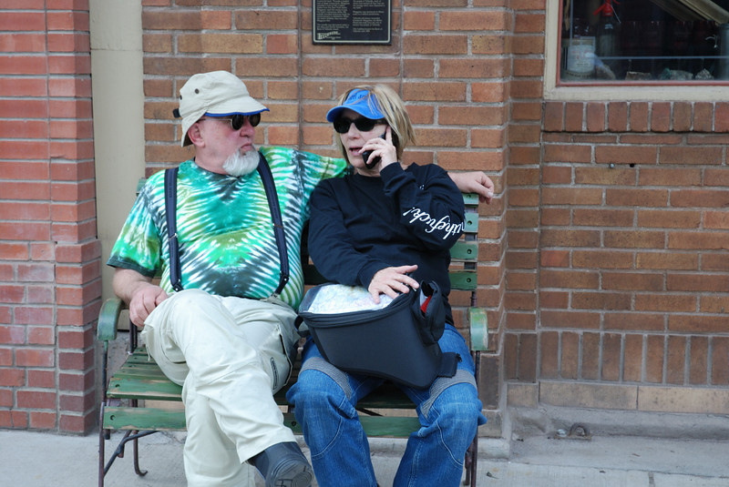 Harl and Nancy take a call in Telluride, Colorado.