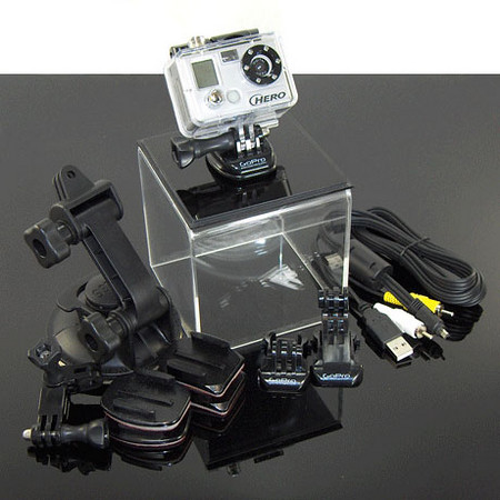 The GoPro Hero 5 MP kit. Not the wide angle version. Pretty simple contraption, without much in the way of feedback. No LCD screen, no live view, teeny viewfinder and the small screen on the front really only tells you what mode you're in and counts photos or video files taken. No information at all to tell you battery status or to review shots taken. In that way, it is kind of like a film camera. Only with video. Small and light, though, and waterproof. And tons of mounting options. Video quality is average to average plus.