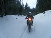 Somewhere after this the fun ended. Some trucks had gone down the road earlier and packed the snow and it froze to ice. The 650L would just spin. Stock gearing just too tall. The KTM 950 Super Enduro was pretty easy to ride...low gear and chug!