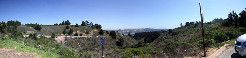 looking down half moon bay road, from the beginning of skyline drive.<br /> <br /> five shot panoramic, stitched w/ autostitch