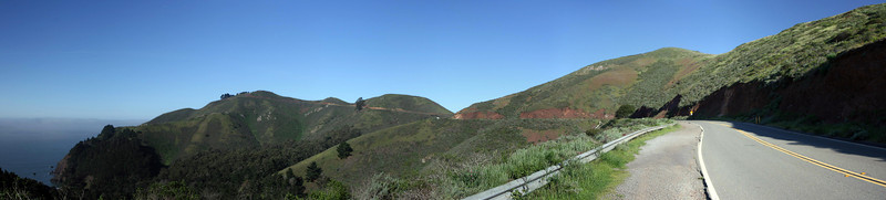 shot taken looking out on the marin headlands, near the golden gate lookout area. <br /> <br /> four shot panoramic, stitched w/ autostitch.