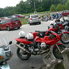Guzzis lined up for lunch at Undercliff Grill & Bar at Tipton Ford, Missouri.