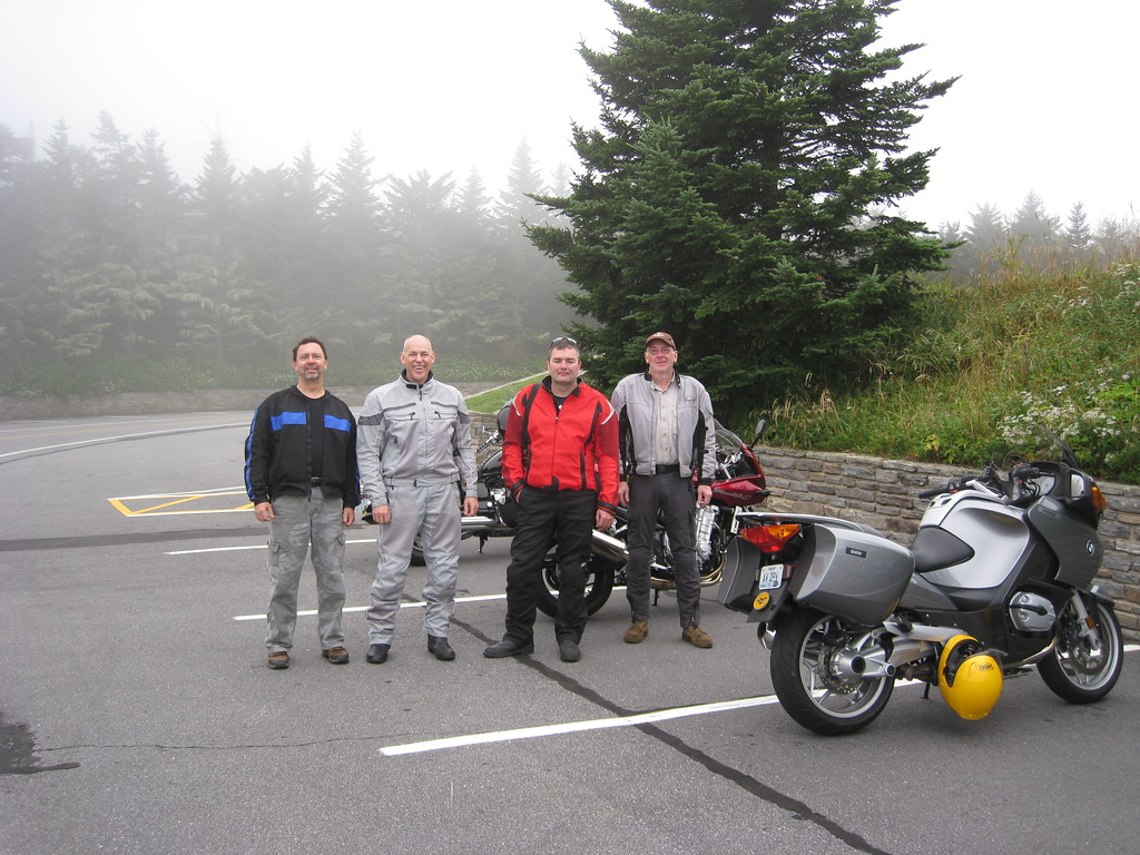 The St. Louis crew, at Mount Mitchell.  Although it was too foggy to see anything, the side trip off the main BRP was still worth it.  Mike had to leave us that day to get back to work that evening.