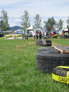 The final checkpoint obstacles.  Balance beams across tires.