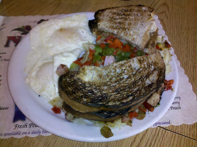 My lunch at Norske Nook in Osseo, WI. A hashbrown mess deal, quite good.
