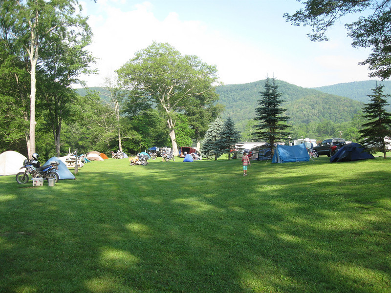 Tents, bikes, and lots of green.