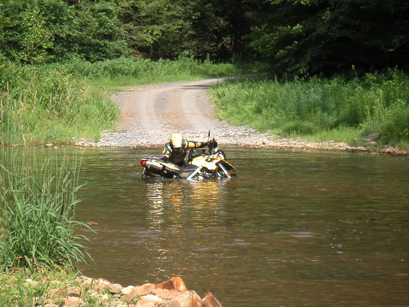 My bike got sleepy in the middle of the creek and opted for a nice bath-nap.