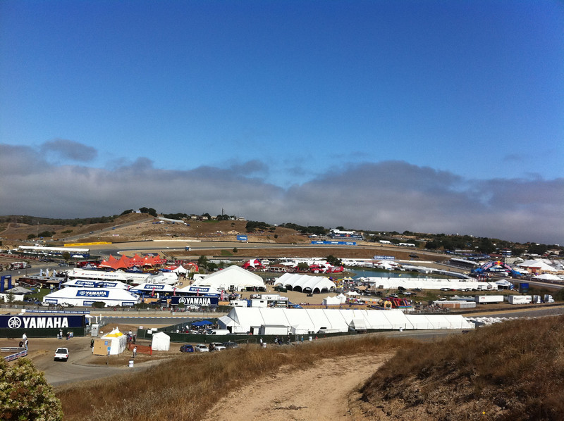 """Laguna Seca Raceway ... Turns 1, 2, 3, 4, which make up the lower jaw, throat, and roof of mouth of the T-Rex going """"RAWR.""""  http://www.youtube.com/watch?v=kiVCbMlXxNM&feature=PlayList&p=9F23E974A06A2E3D&playnext=1&index=3"""