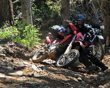 We attempted to take several 4x4 roads that supposedly would like us to the east and the Liberty Beehive road.  Unfortunately, they either didn't go through or were impossibly hard on fully loaded bikes.  This picture doesn't do it justice -- I was shooting down a very steep hill.  It took Mike and Chuck several minutes to right Mike's KLX.
