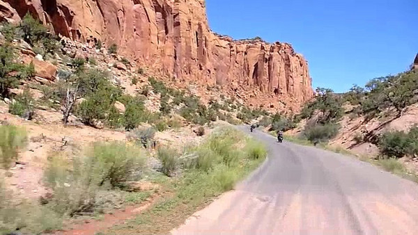 the paved part of burr trail, nv. i'm getting good at filming while riding... so much so that most of this video was shot while standing (holding the throttle w/ my right hand).