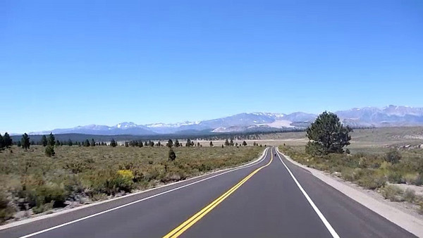 US 120 W in CA heading towards Mono Lake.<br /> <br /> three clips, beautiful scenery.