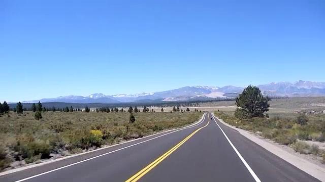 US 120 W in CA heading towards Mono Lake.<br /> <br /> three clips, beautiful scenery.