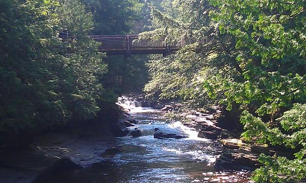 Suspension bridge over the Presque Isle River