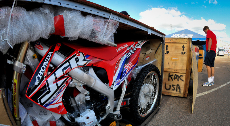 Endurance specialist Colton Udall works on unloading his shipping crate.