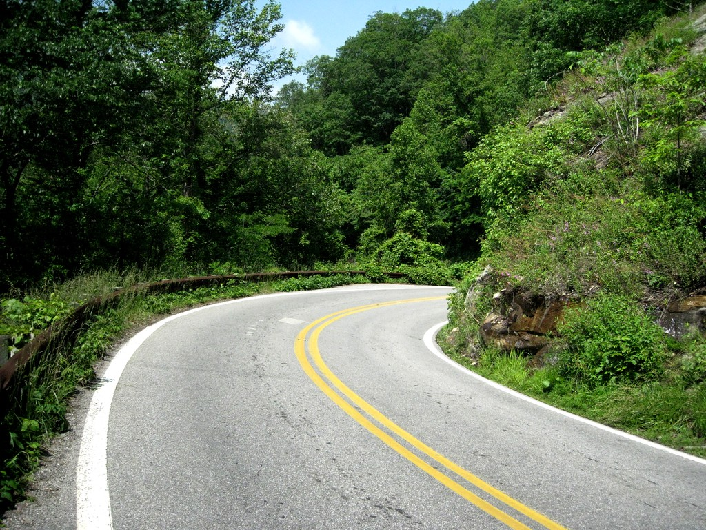 Typical blind curve along Route 28