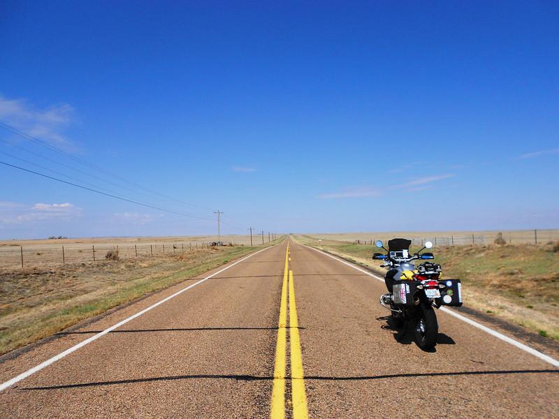 Looooong straight roads of eastern Colorado.
