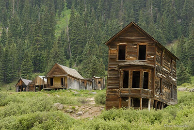 An icon of the infamous Animas Forks ghost town, the venerable hotel stands sentinel over the former mining town. Founded in 1873, Animas Forks was a bustling community of 450 people by 1883. In 1884, 25 feet of snow buried the town and residents tunneled from one building to the next.  Uncompahgre National Forest, CO