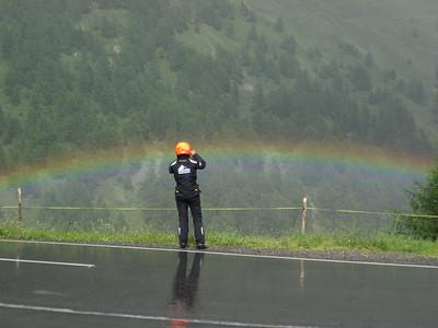 On Bernina Pass, Ursula catches a rainbow.