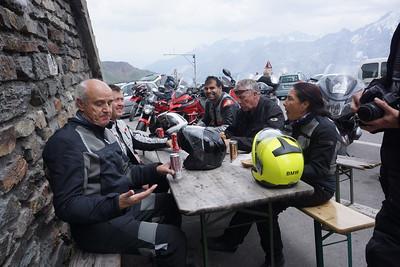The crew atop Stelvio