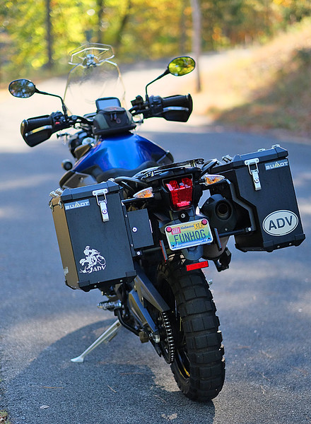 Rear view showing Bumot panniers and tool compartment