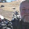 Selfie as motorcyclist, on Horsetooth Reservoir road.