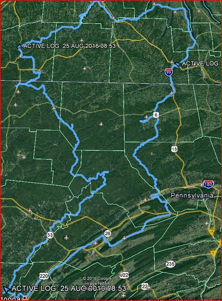 Overall route spanning 650 miles through Pennsylvania and New York.