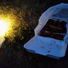Leftover wings around the solar-powered campfire