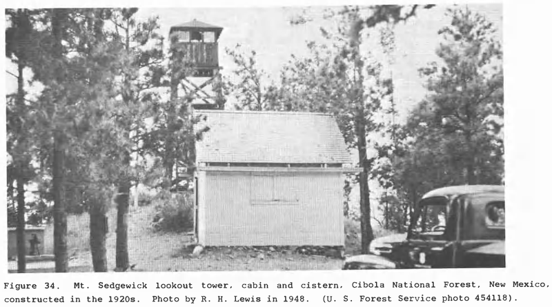 Mt. Sedgwick Lookout Tower with cabin and cistern (to the left of photo) from circa 1948.