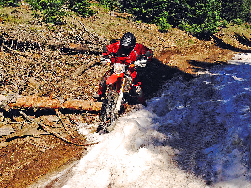 Bret riding over a log