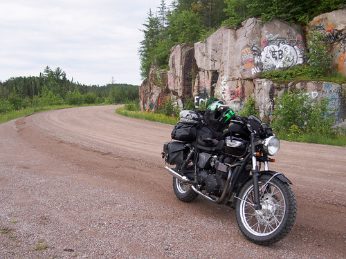 Triumph Bonneville on the Echo Trail north of Ely, MN