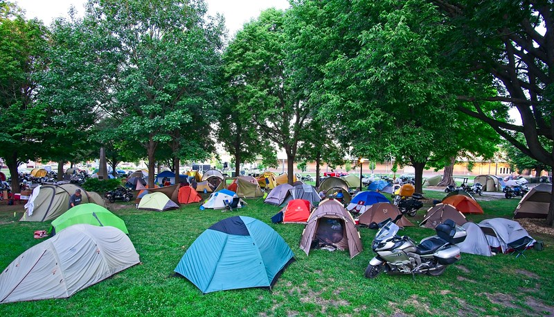 by evening, camping was filling up.  Attendance was 4,500 and most people camped, though, some did it in RVs.