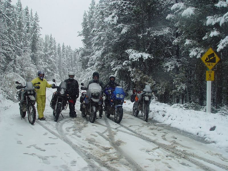 Theres a 14% grade ahead and the conditions are getting worse, this is what ADVENTURE RIDING is all about.