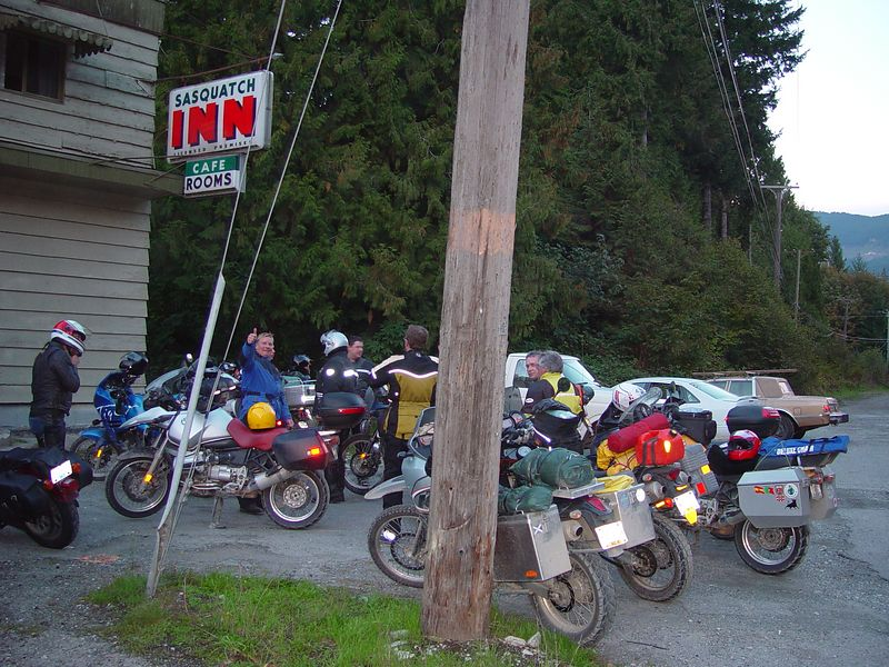The end of the trail.  We broke out onto the Hwy. about 5 miles before arriving at the Sasquatch Inn.  We had a great lunch, said our goodbye's and each headed towards our homes.  This was another great ride in the beautiful country of Canada, I will do it again.