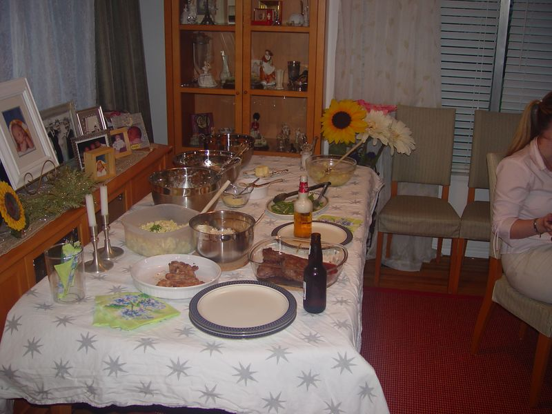 The meal that awaited us at Colin's home.  It was VERY good.