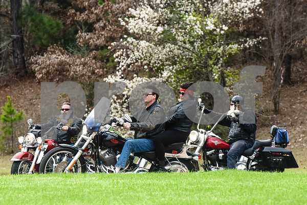 Motorcyclists ride into the parking lot at Brookdale Tyler East Senior Living in Tyler, Texas, on Thursday, March 1, 2018. Greg Kludt was an avid motorcyclist in his earlier years and one of his last wishes was to ride a motorcycle again. Joey Allen drove Kludt in his sidecar and many motorcyclists accompanied them. (Chelsea Purgahn/Tyler Morning Telegraph)