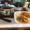 Mexican Dinner made on the vans two burner LP gas stove. Love the Magma Nesting Cookware. Texas