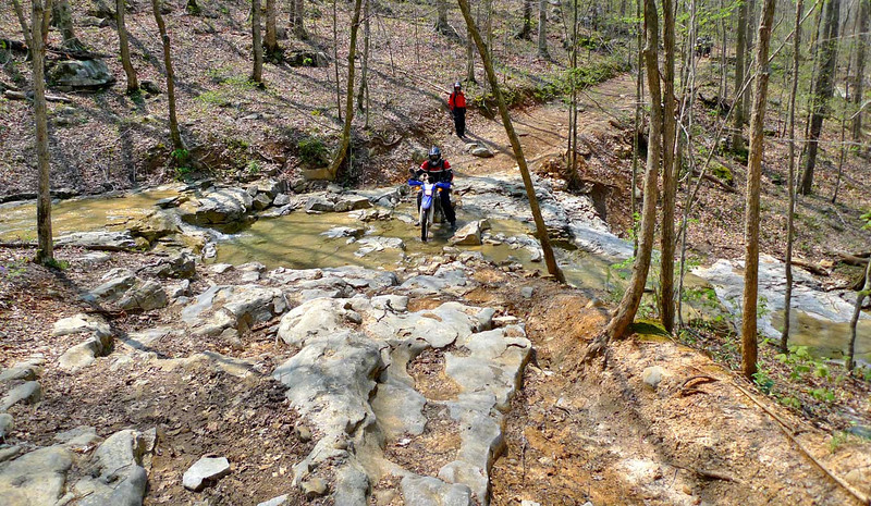 Crossing a mountain spring outflow