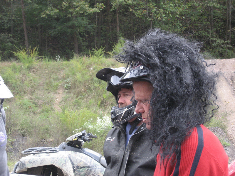 Dave's friend Lon. He was wearing the wig till a bee got tangled up in it and nailed him in the back of the neck.  The wig spent the rest of the trip tied to the luggage rack of his ATV