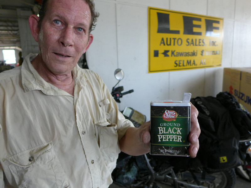 Bart at the Kawasaki/Suzuki shop in Selma… About to try black pepper radiator leak cure