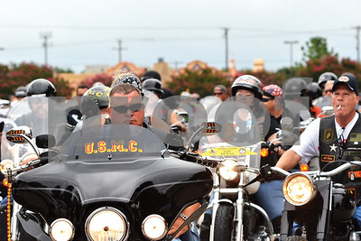 """""""Gunny"""" Moore, organizer of the fifth annual Bikers Rule 4 School event, leads around 225 motorcycles out of the Broadway Square Mall parking lot in preparation for an approximately 90-mile ride around Smith County. The event, which partnered with local nonprofit PATH, helped collect school supplies for children in Smith County. (Victor Texcucano)"""
