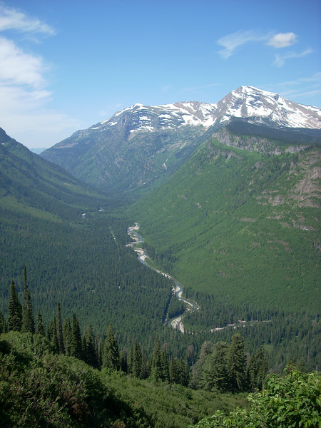 looking back down into the valley, where the Going To the Sun Road begins.